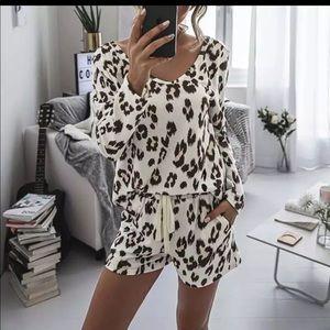 Springtime Leopard Pajama Short Set